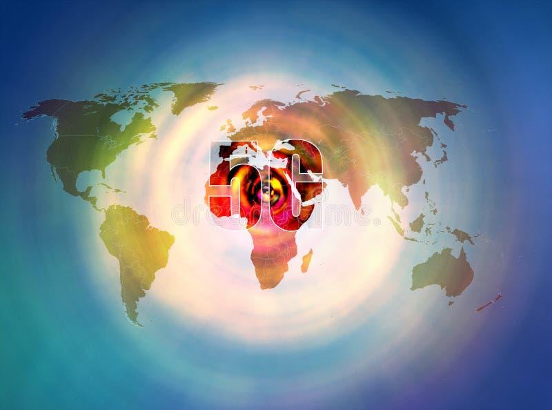 poder 5G para los mapas del mundo fotos de archivo