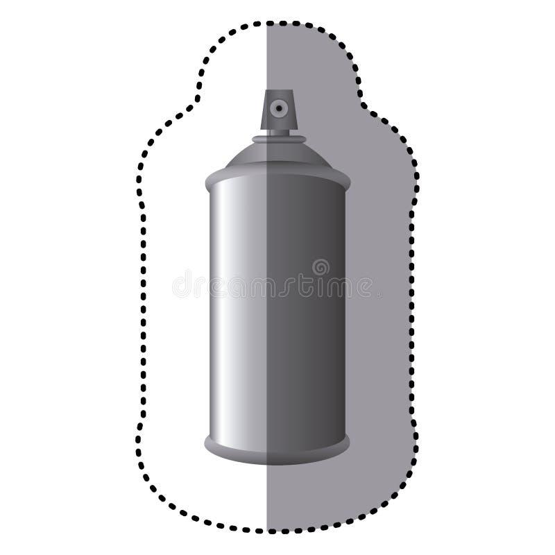 poder gris de la botella del metal 3D del espray de aerosol de la etiqueta engomada stock de ilustración