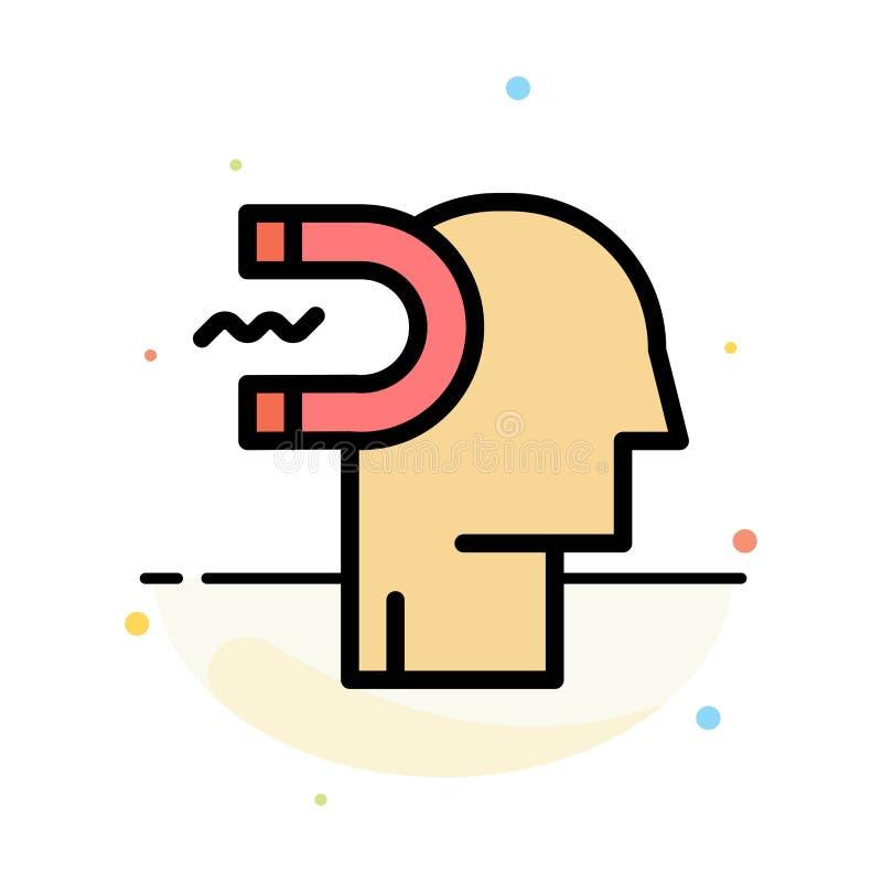 Poder, influencia, compromiso, ser humano, influencia, plantilla plana del icono del color del extracto de la ventaja ilustración del vector