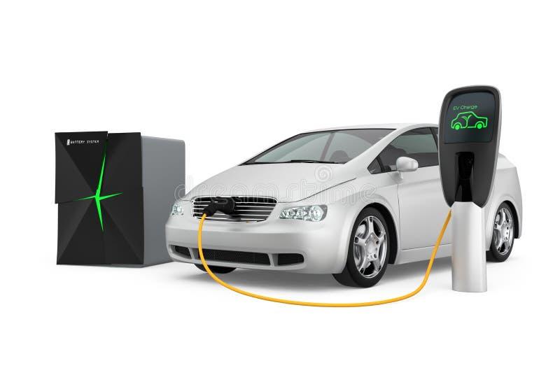 Poder inmóvil de la fuente de sistema de batería a EV stock de ilustración