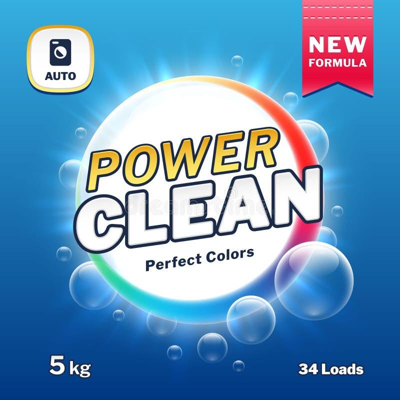 Poder limpo - empacotamento do sabão e do detergente para a roupa Ilustração do vetor da etiqueta do produto do pó de lavagem ilustração do vetor