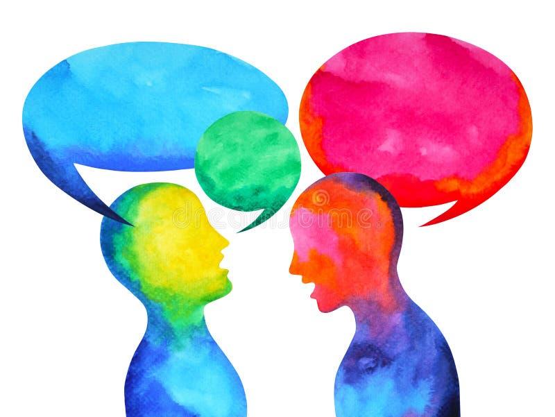 Poder que escucha de discurso humano del universo del mundo del genio junto stock de ilustración