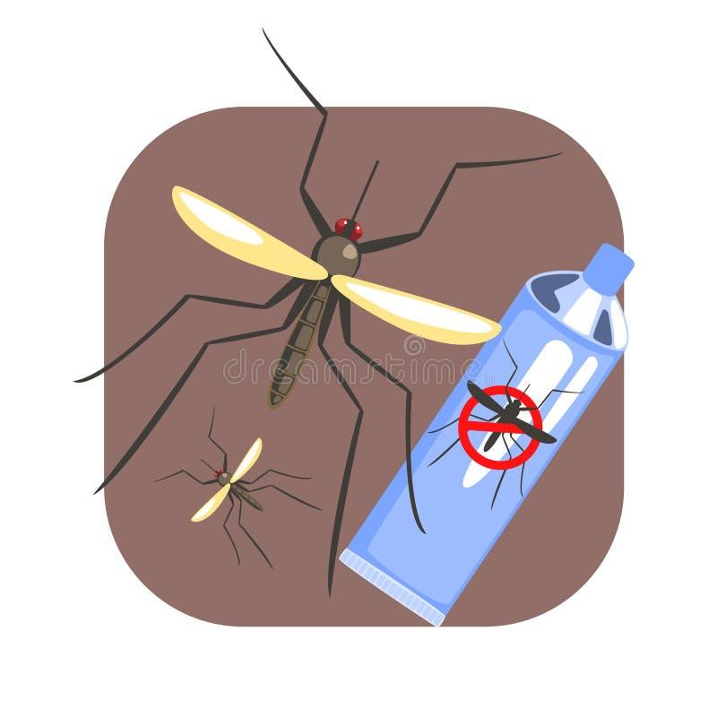 Poder repugnante del azul del espray del insecto del mosquito y del mosquito Ejemplo colorido de la historieta stock de ilustración