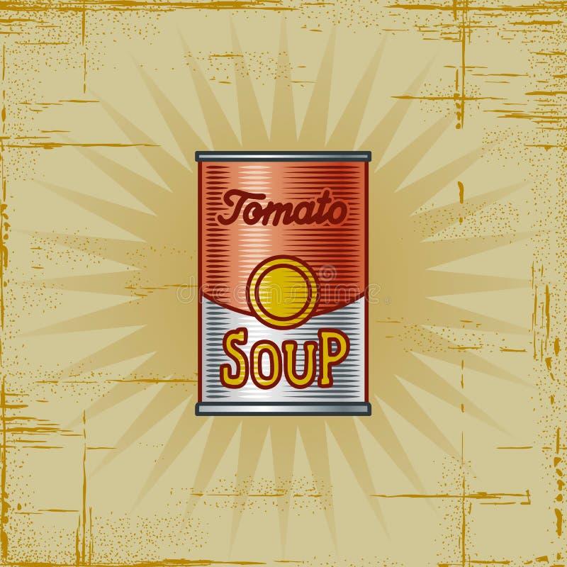 Poder retra de la sopa del tomate ilustración del vector