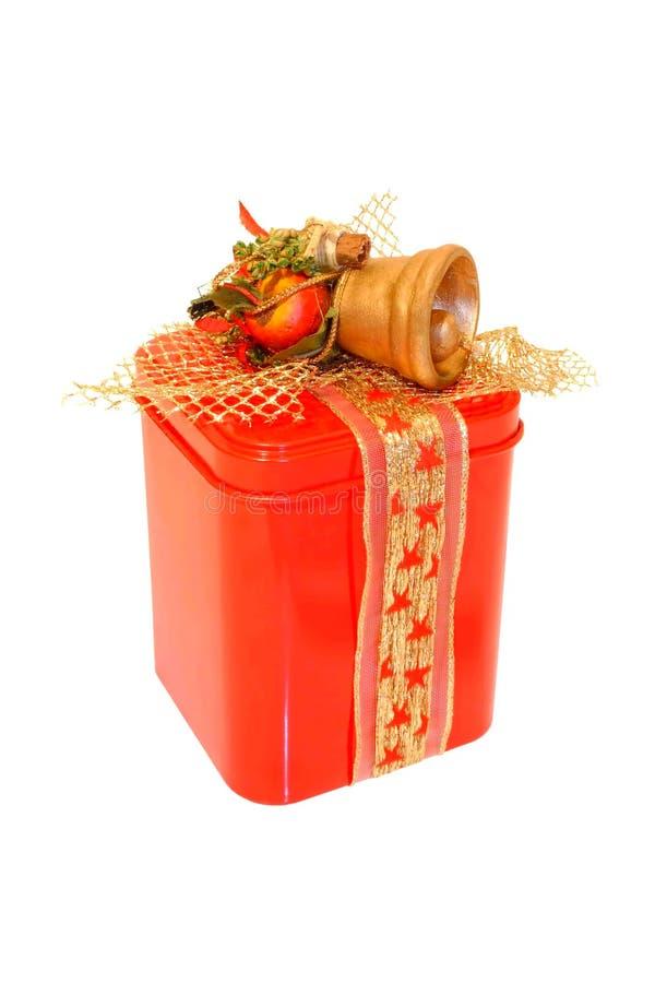 Poder roja del regalo de la Navidad fotografía de archivo