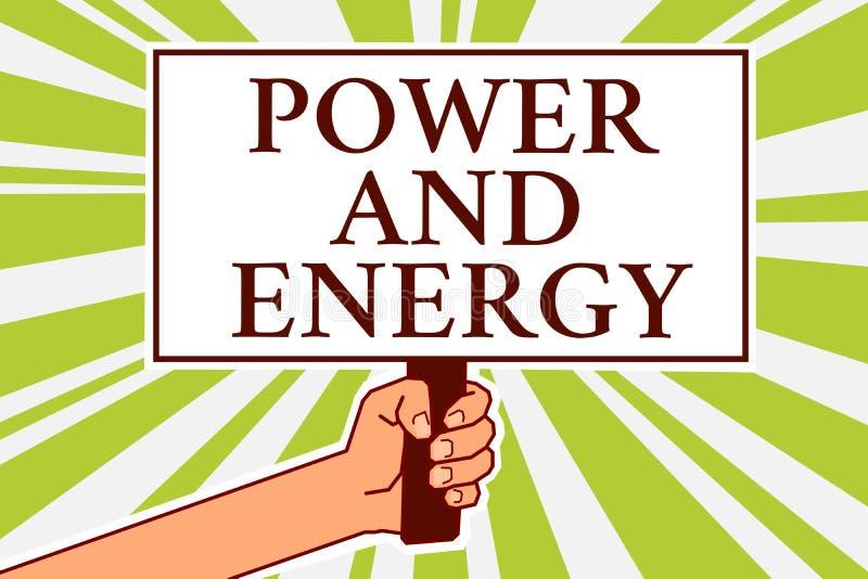 Poder y energía del texto de la escritura de la palabra Concepto del negocio para el símbolo enérgico del tablón de anuncios de l libre illustration