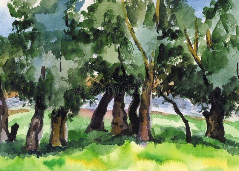 Podesłanie wierzby na brzeg rzeki autumn mostu park mała akwarela krajobrazu ilustracja wektor