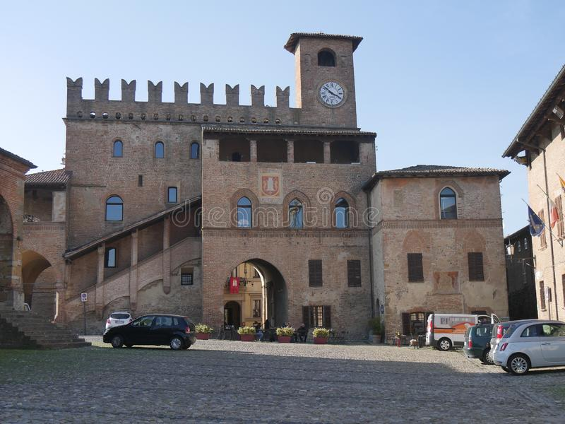 Podestà Palace in Castell`Arquato. Podestà Palace was built in terracotta bricks during Scotti domination and it is charaterized by an open gallery, a stock images