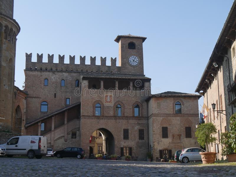 Podestà Palace in Castell`Arquato. Podestà Palace was built in terracotta bricks during Scotti domination and it is charaterized by an open gallery, a stock image