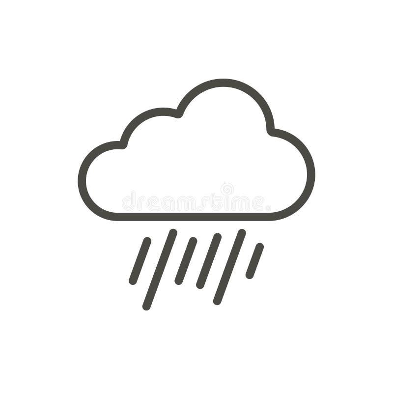 Podeszczowej chmury ikony wektor Kreskowy raindrop symbol ilustracji
