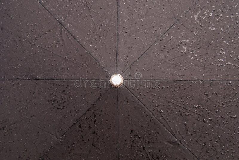 Podeszczowej wody krople na czarnym wodoodpornym parasolu zdjęcie stock