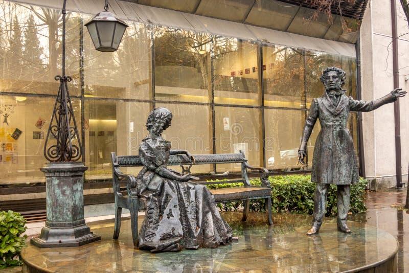 Podgorica Środkowa, Czarnogóra: pomnik Aleksandra Puszkina i jego żony Natalii Gonczarowej obraz royalty free