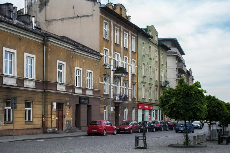 KRAKOW, POLAND - MAY 27, 2016: Old street in Podgorze district of Krakow near the Memorial to Jews from the Krakow Ghetto stock images