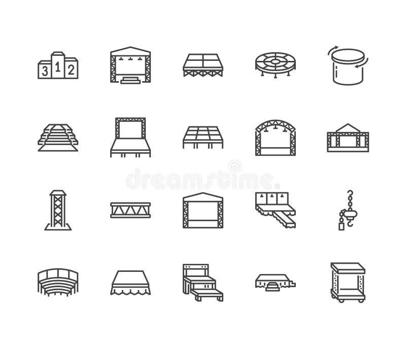 Podia, sceny mieszkania linii ikony ustawiać Wydarzenia wyposażenia wektorowe ilustracje - czerwony chodnik, pas startowy mody po ilustracja wektor