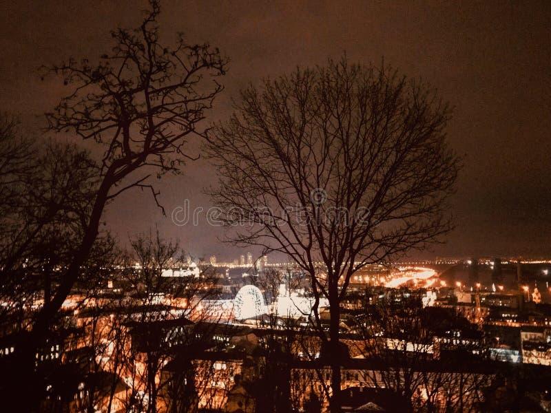 A stunning view over Podil - PODIL - KYIV - NIGHT - UKRAINE stock photos