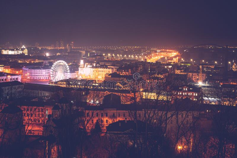 Podil or Podol is one of the oldest neighborhoods of Kiev, the capital of Ukraine. Birthplace of the city`s trade. Commerce and industry stock images
