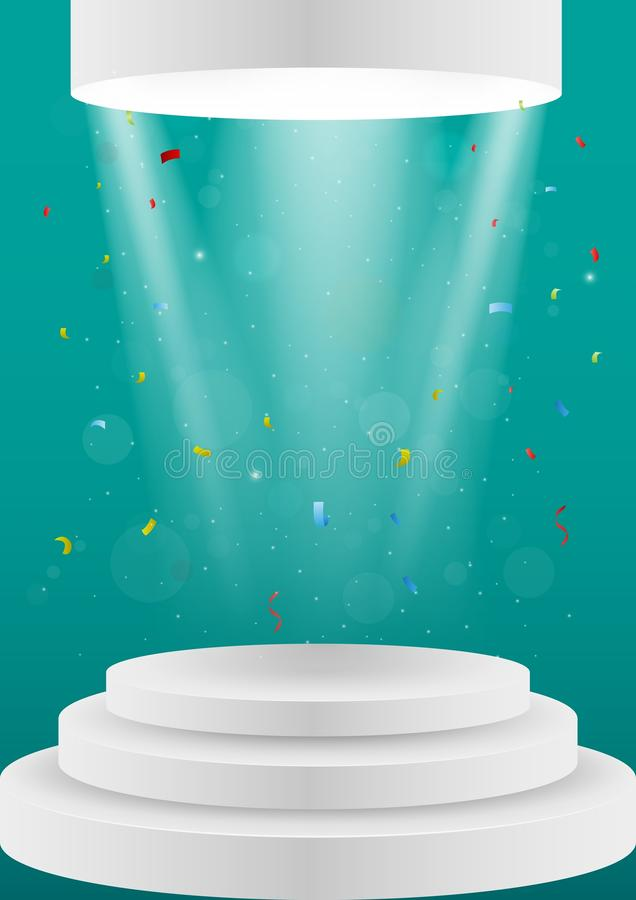 Podio bianco vuoto con luce illustrazione vettoriale