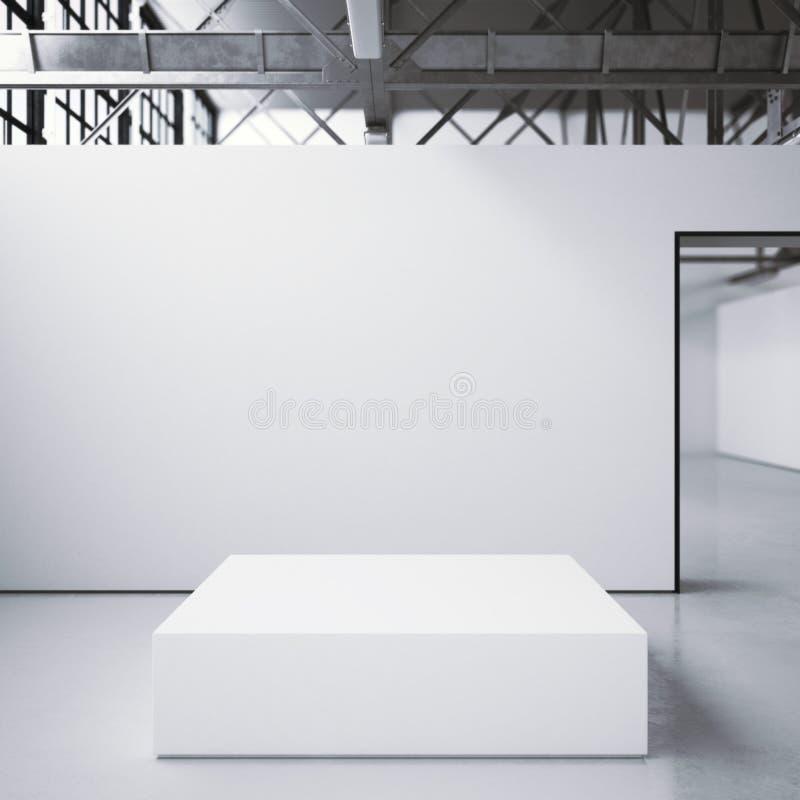Podio blanco en galería brillante representación 3d foto de archivo