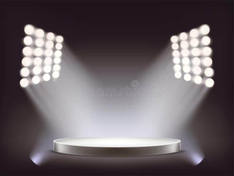Podio blanco redondo vacío iluminado por los proyectores stock de ilustración
