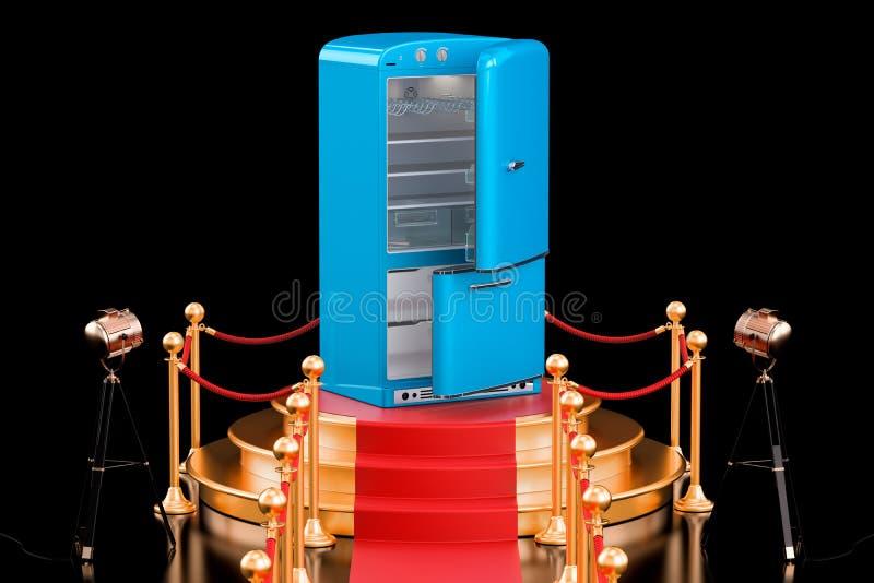 Podio con el refrigerador, representación 3D stock de ilustración