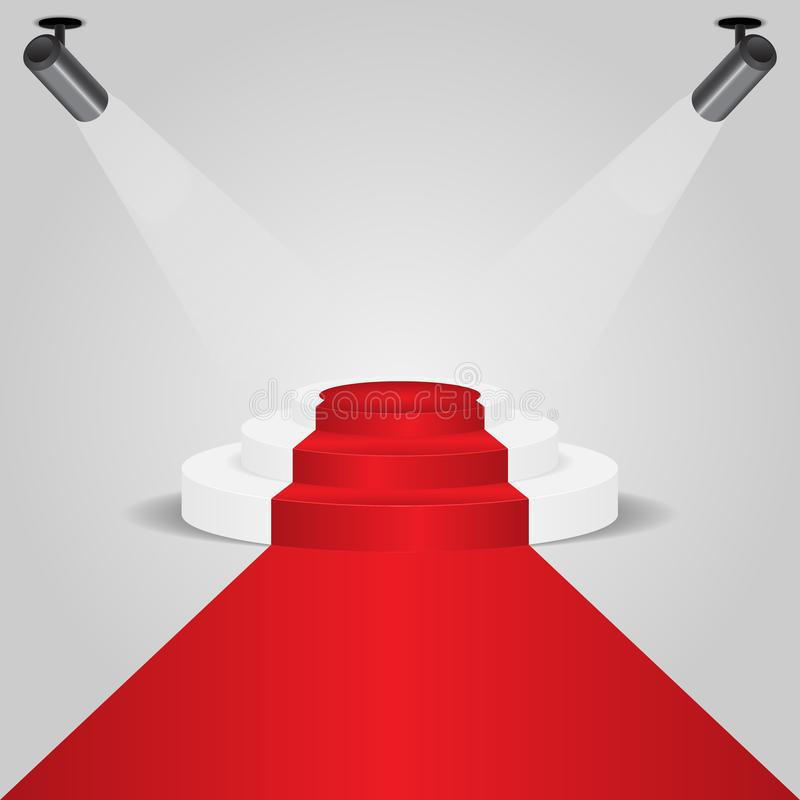 Podio de la alfombra roja con el proyector stock de ilustración