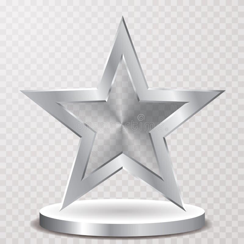 Podio de la estrella de la plata del transporte stock de ilustración
