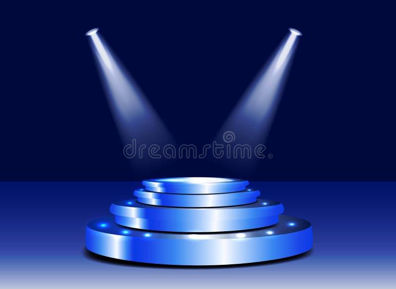 podio de la etapa 3d con la iluminación Escena del podio de la etapa con para ceremonia de entrega de los premios libre illustration