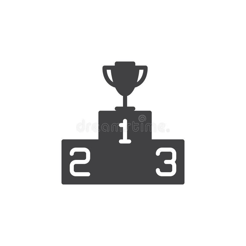 Podio de los ganadores con el vector del icono del trofeo, muestra plana llenada, pictograma sólido aislado en blanco libre illustration