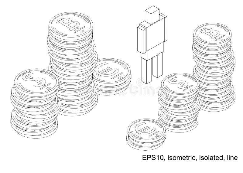 Podio de pilas de monedas stock de ilustración