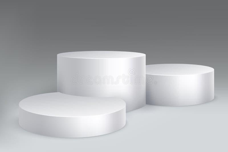 Podio del estudio Base de mármol del pilar del soporte, pedestal con los cilindros Maqueta aislada sala de exposición blanca vací ilustración del vector