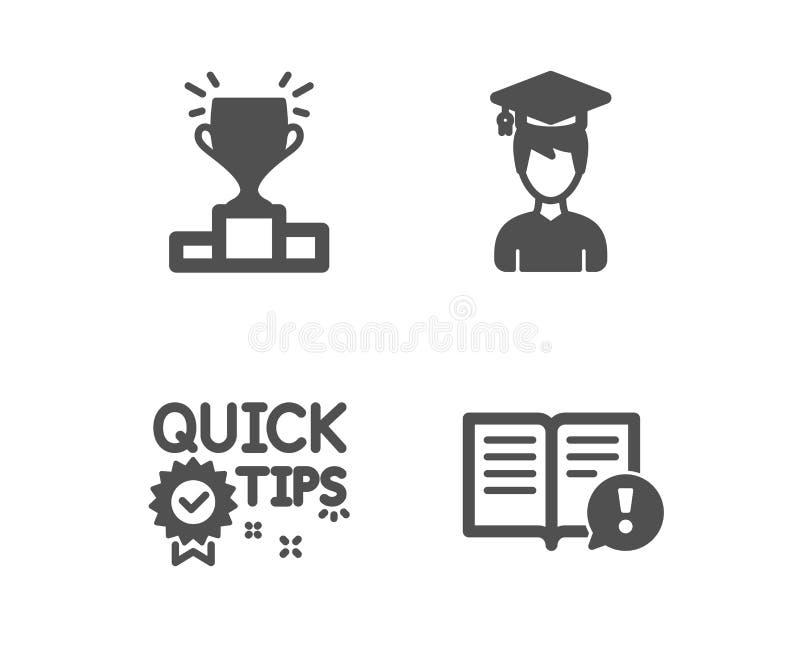 Podio del ganador, extremidades rápidas e iconos del estudiante Los hechos firman Resultados de la competencia, trucos útiles, ca libre illustration