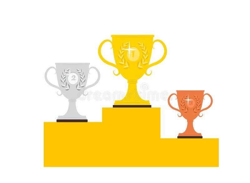 PODIO DEL GANADOR Trofeo premiado ilustración del vector