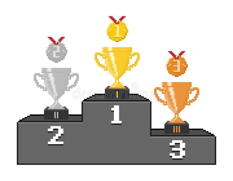 Podio del pixel con le tazze e le medaglie del trofeo illustrazione di stock