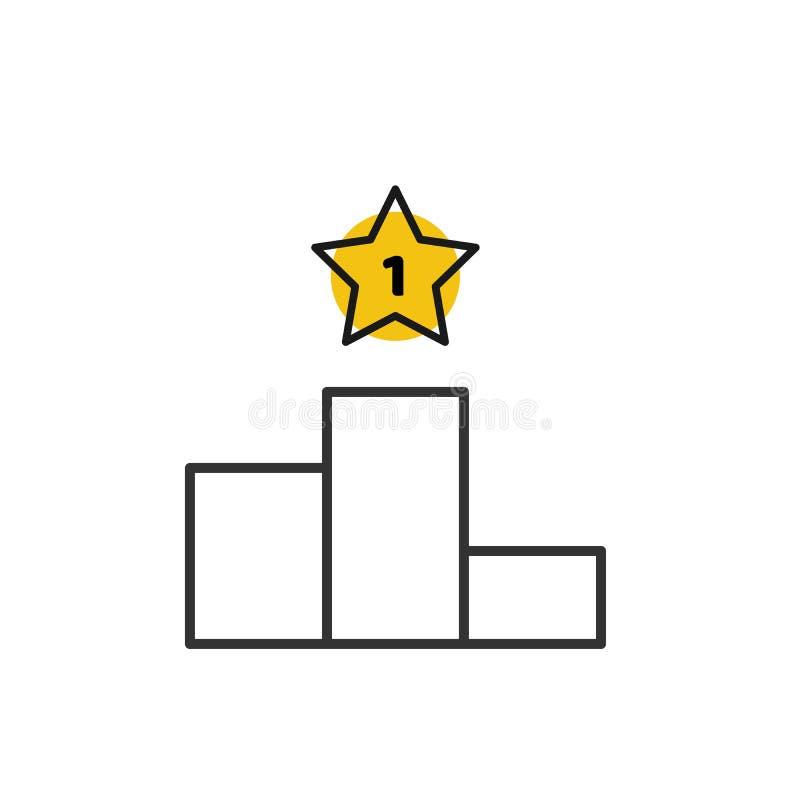 Podio del vincitore, icona di vettore del profilo del piedistallo Primo vincitore della stella del posto Simbolo del piedistallo, illustrazione vettoriale