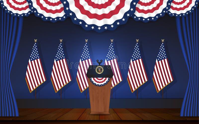 Podio di presidente in scena con dell'albero per bandiera la parte posteriore sopra illustrazione vettoriale