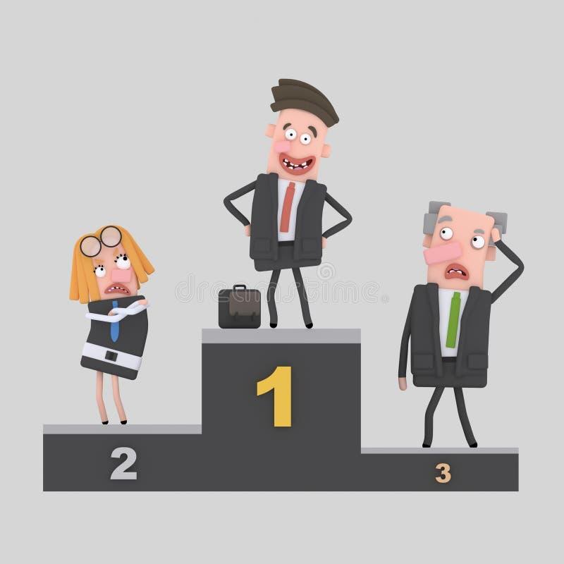 Podio di successo degli uomini d'affari 3d illustrazione di stock