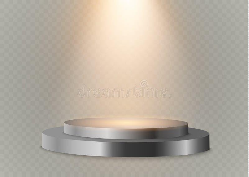 podio en un fondo transparente el podio de ganadores con las luces brillantes Proyector iluminación Ilustración del vector stock de ilustración