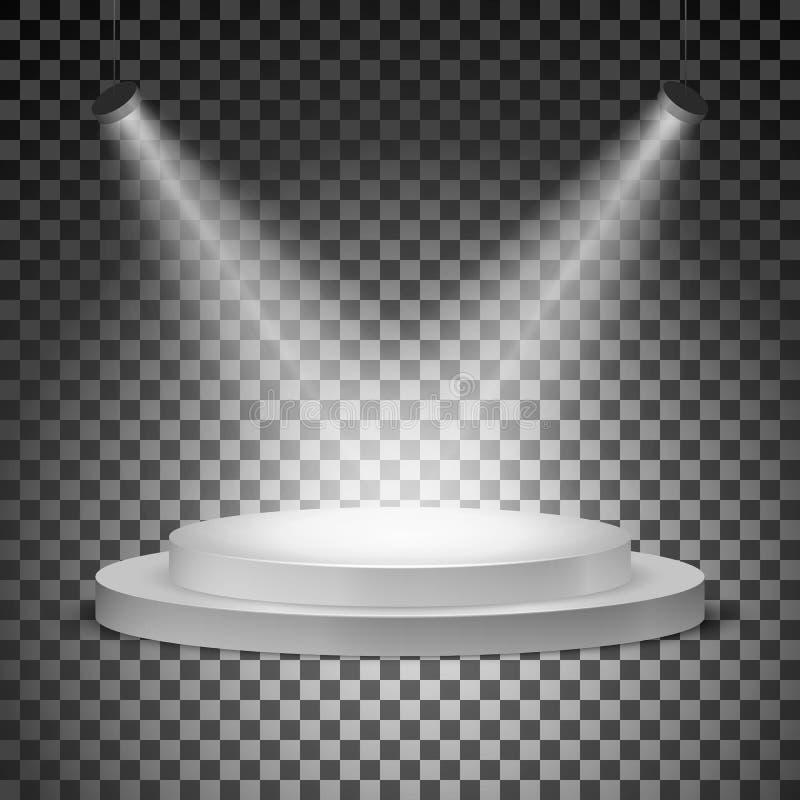 Podio illuminato con i proiettori su un fondo trasparente Illustrazione di vettore illustrazione di stock