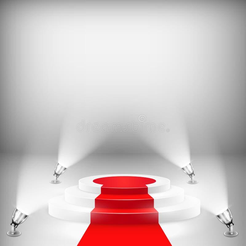 Podio illuminato con tappeto rosso royalty illustrazione gratis