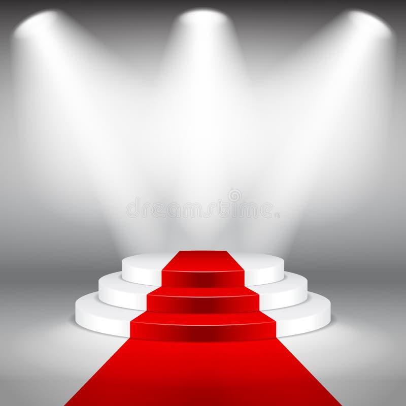 Podio illuminato della fase con il vettore del tappeto rosso royalty illustrazione gratis