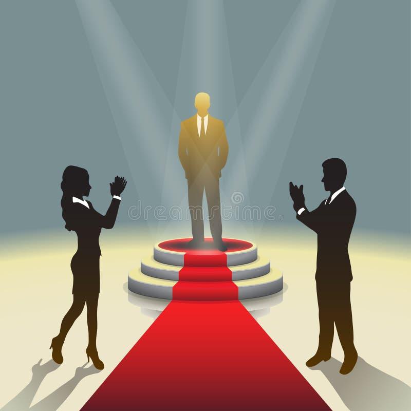 Podio illuminato della fase con l'uomo d'affari ed il tappeto rosso, illustrazione di vettore illustrazione vettoriale