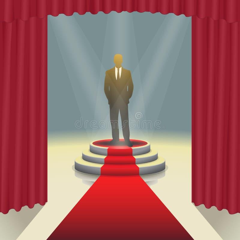 Podio illuminato della fase con l'uomo d'affari ed il tappeto rosso, illustrazione di vettore royalty illustrazione gratis