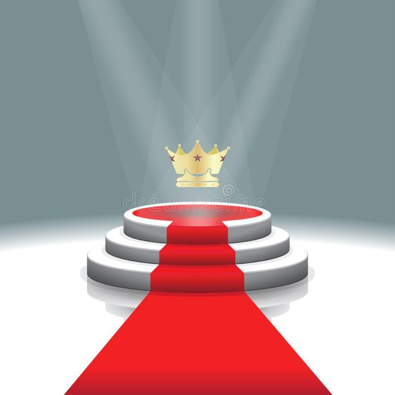 Podio illuminato della fase con la corona ed il tappeto rosso per cerimonia di premiazione, illustrazione di vettore royalty illustrazione gratis