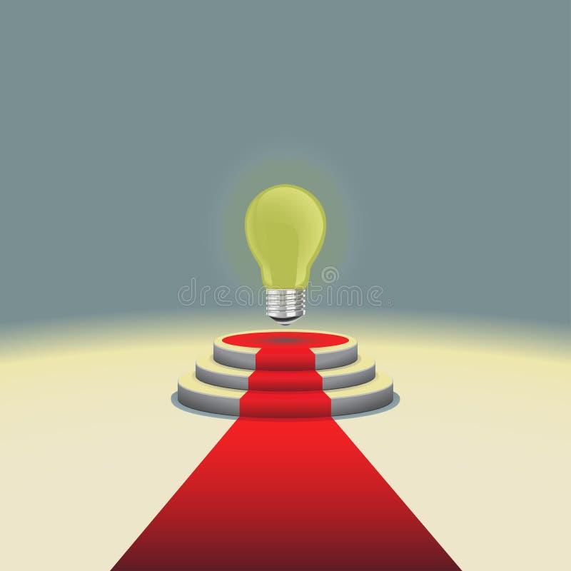 Podio illuminato della fase con la lampadina ed il tappeto rosso, illustrazione di vettore illustrazione di stock