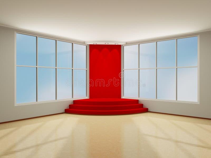 Podio illuminato della fase con tappeto rosso. interno moderno 3D. royalty illustrazione gratis