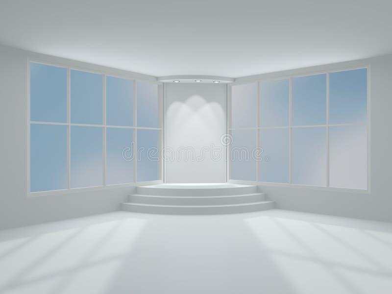 Podio illuminato della fase. interno moderno 3D. royalty illustrazione gratis