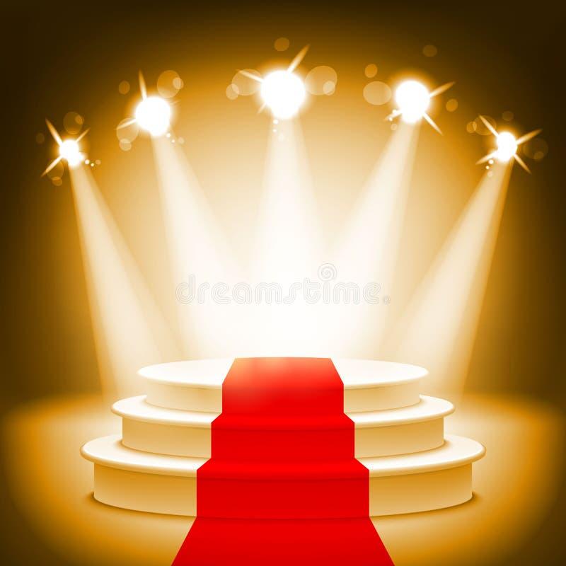 Podio illuminato della fase per l'illustrazione di vettore di cerimonia di premiazione illustrazione vettoriale