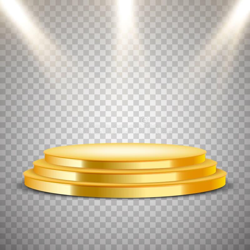 Podio redondo de oro con efecto luminoso libre illustration