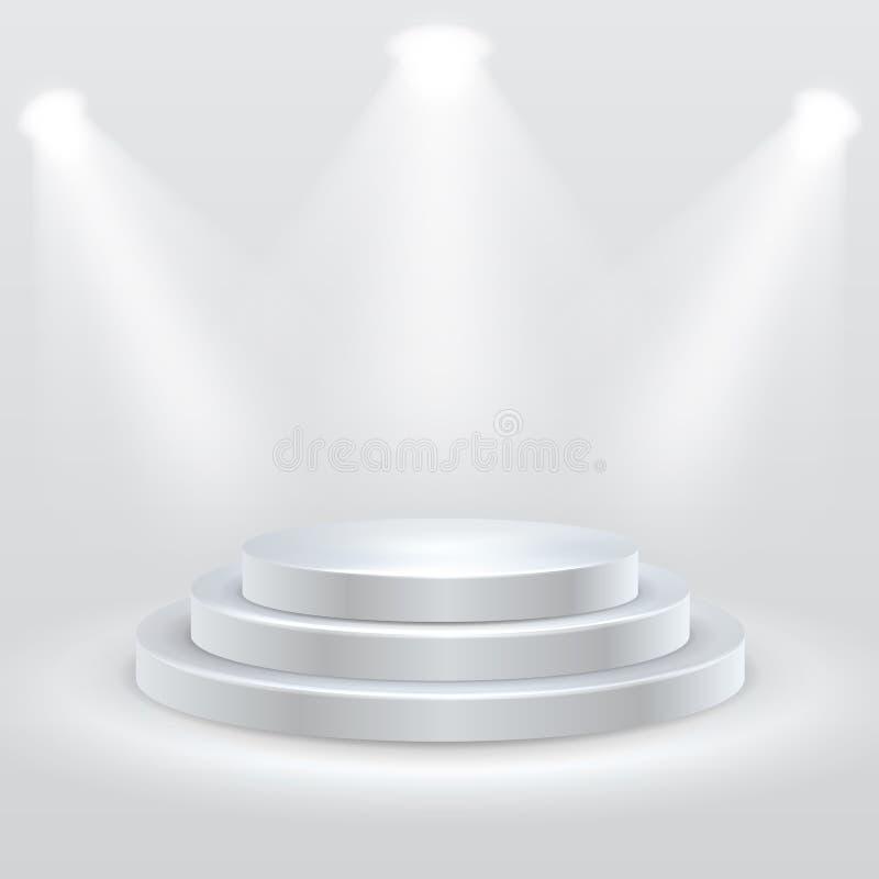 Podio redondo iluminado por los proyectores Pedestal vacío de la ceremonia Ilustración del vector libre illustration