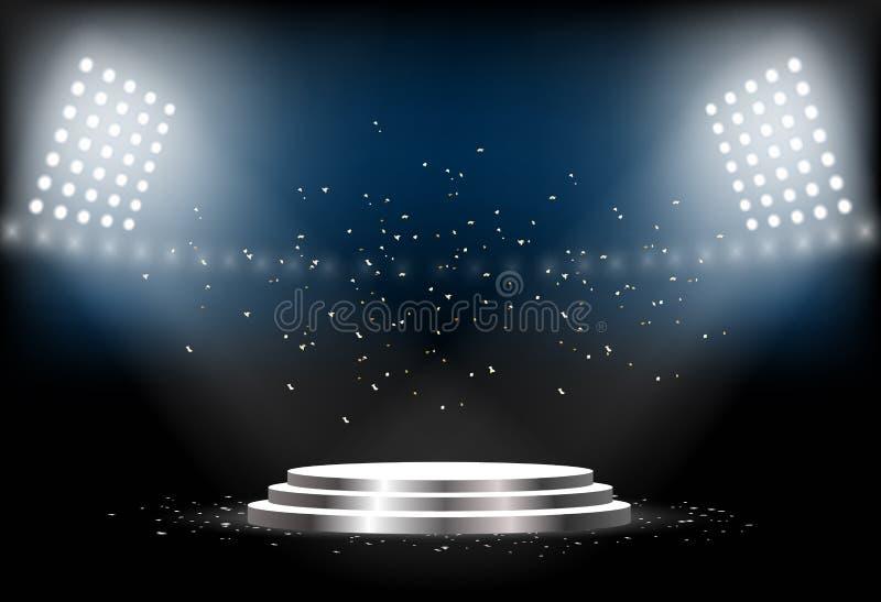 Podio redondo Pedestal vacío para la ceremonia de entrega de los premios Plataforma iluminada por los proyectores Ilustración del ilustración del vector